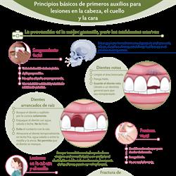 Spanish First Aid 101 for Head, Neck and Face Injuries Infographic PDF (Principios básicos de primeros auxilios para  lesiones en la cabeza, el cuello y la cara)